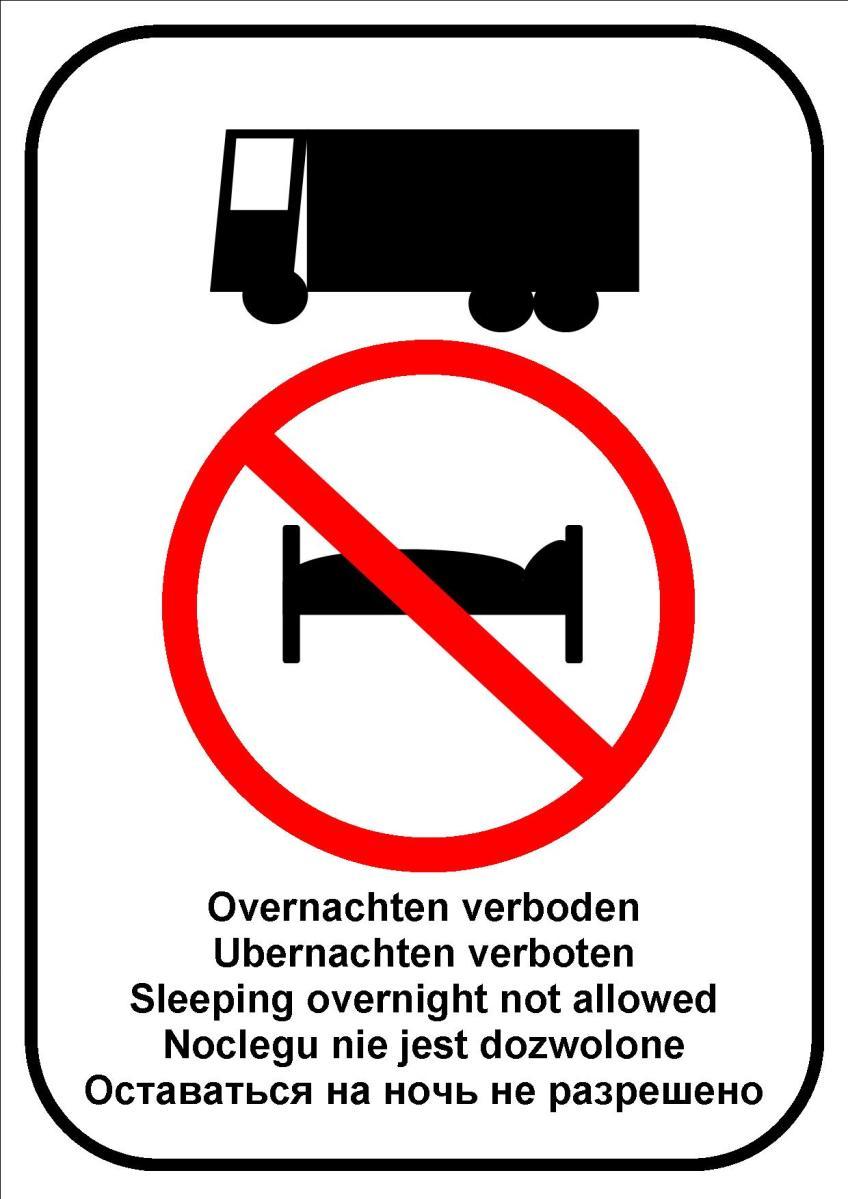 Afbeeldingsresultaat voor overnachten voor chauffeurs verboden